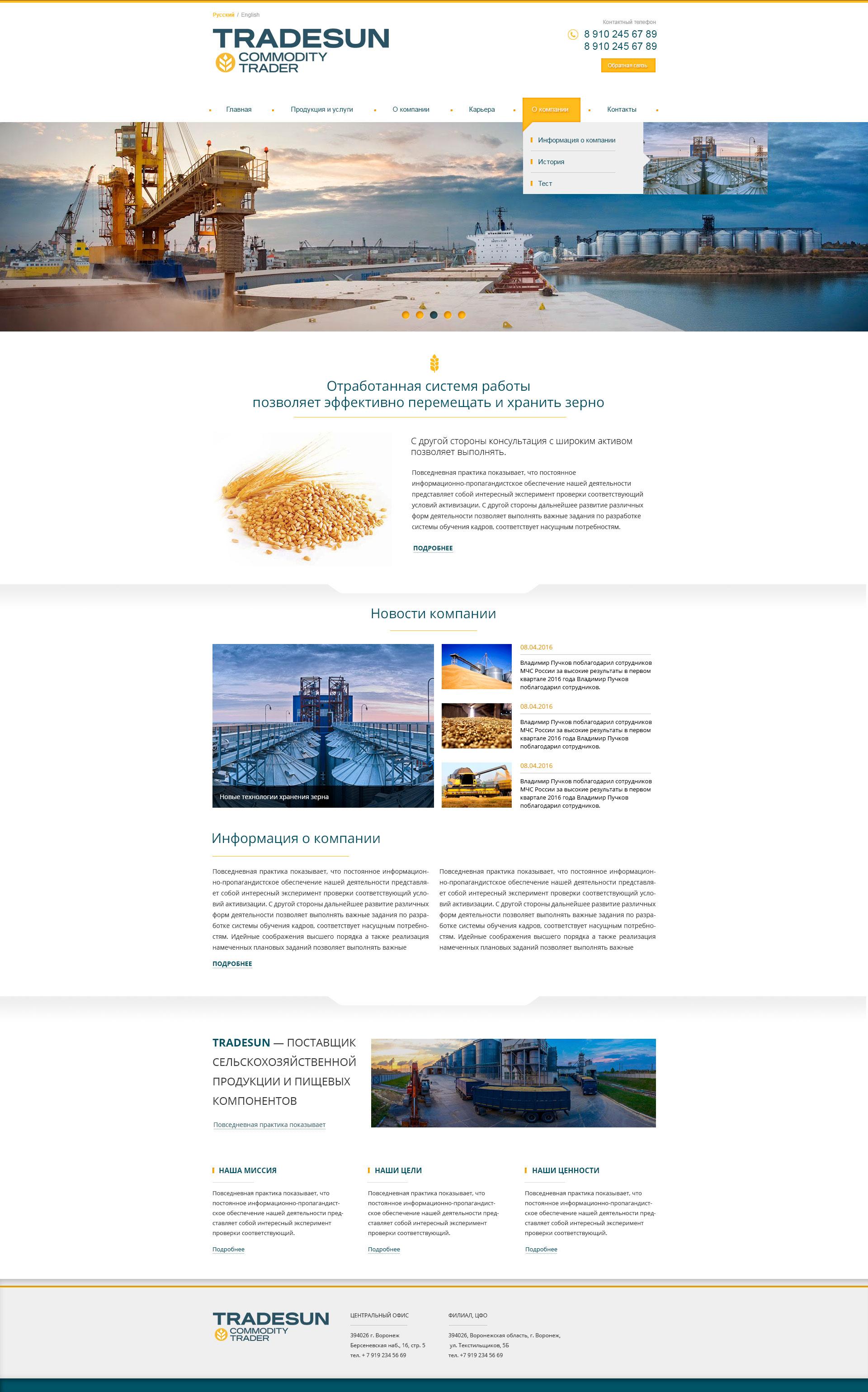 b2b сайты примеры Tradesun 1920 px